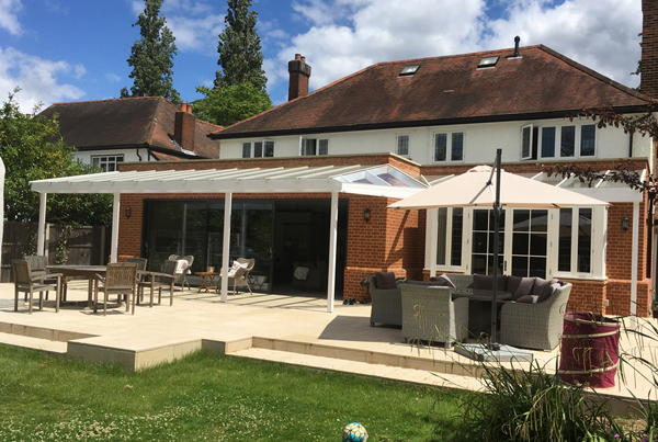 Large extension and new patio, Thames Ditton